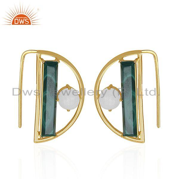 14k Gold Plated 925 Silver Half Moon Design Multi Gemstone Earring Manufacturers