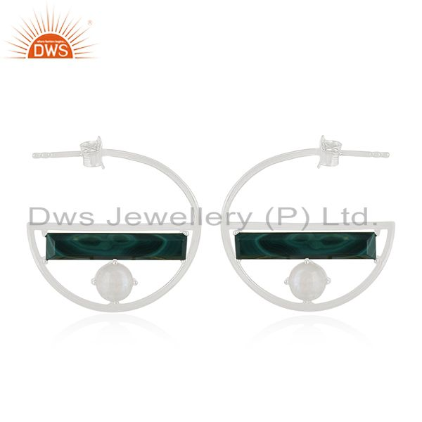 Ranibow Moonstone and Malchite Half Moon Design Earring Manufacturers