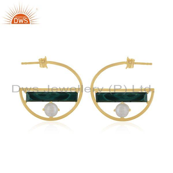 Half Moon Desing Gold Plated 925 Silver Malachite &  Moonstone Earring Wholesal