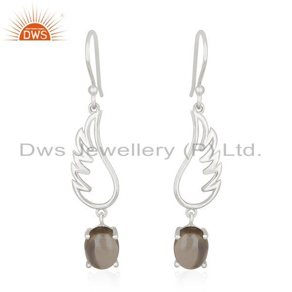 Smoky Quartz 925 Sterling Fine Silver Angel Wing Earring Manufacturer