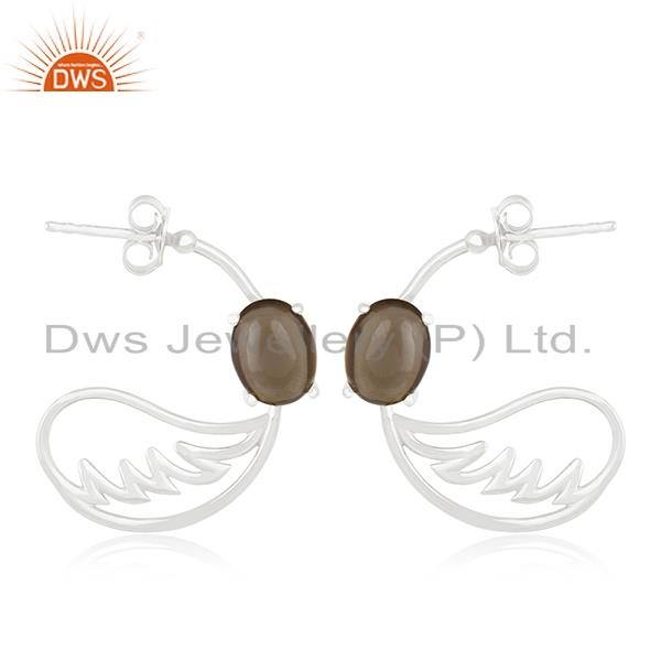 Fine Sterling Silver Angel Wing Smoky Quartz Gemstone Earring Manufacturer