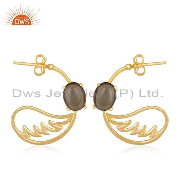 Angel Wing 925 Silver Gold Plated Smoky Quartz Earring Manufacturer from India