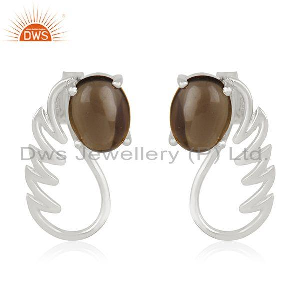 Fine Sterling Silver Smoky Quartz Gemstone Angel Wing Stud Earring Manufacturers