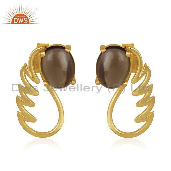 18k Gold Plated 925 Silver Smoky Quartz Gemstone Angel Wing Earring Wholesale