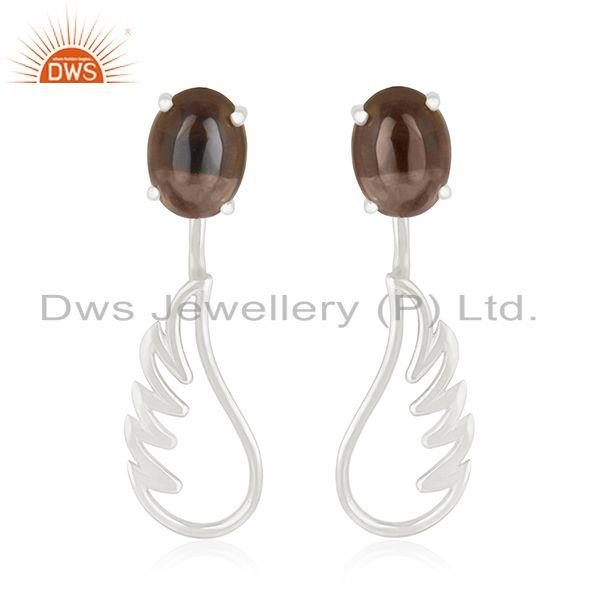 925 Sterling Fine Silver Angel Wing Smoky Quartz Dangle Earring Manufacturers