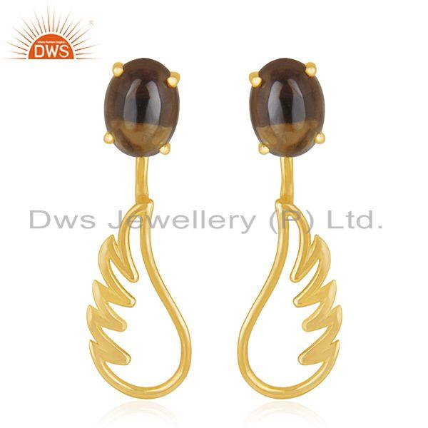 Gold Plated 925 Sterling Silver Angel Wing Smoky Quartz Earring Manufacturer