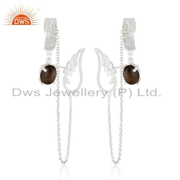 Angel Wing 925 Fine Silver Smoky Quartz Ear Cuff Chain Earring Manufacturers