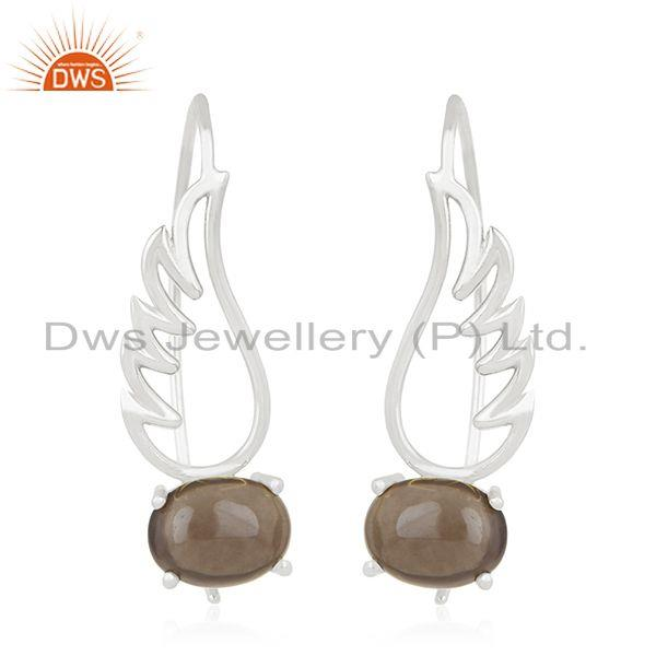 92.5 Sterling Fine Silver Angel Wing Design Gemstone Earring Wholesale Suppliers