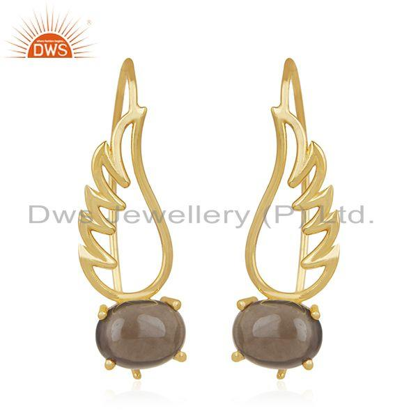 Angel Wing Gold Plated 925 Sterling Silver Smoky Gemstone Earring Wholesaler