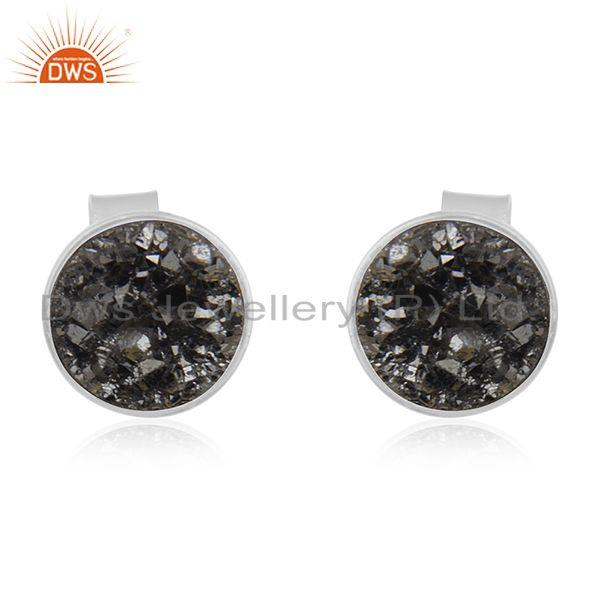Black Druzy 925 Sterling Silver Stud Earring Manufacturer of Girls Jewelry