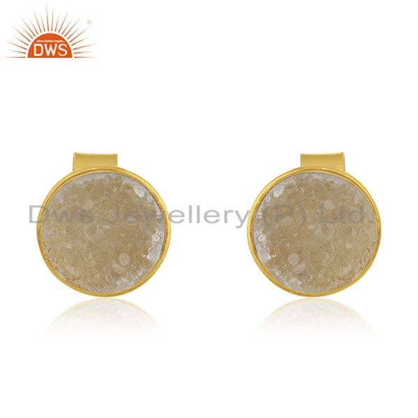 Gold Plated 925 Silver White Druzy Stud Earring Wholesale Supplier