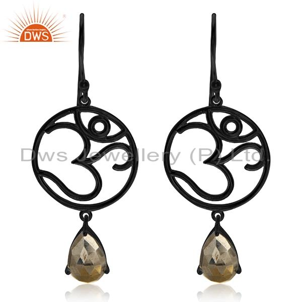 Om Aum Charm 925 Silver Black Rhodium Plated Pyrite Gemstone Earrings Wholesale