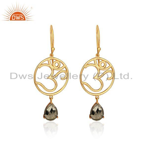 Holi om dangle earrings in yellow gold on 925 silver with pyrite