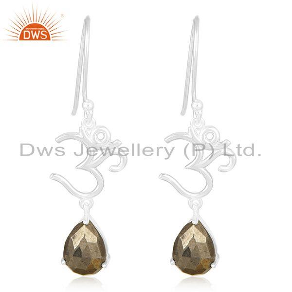 Om Aum Charm 925 Fine Silver Pyrite Gemstone Earring Manufacturer of Jewelry