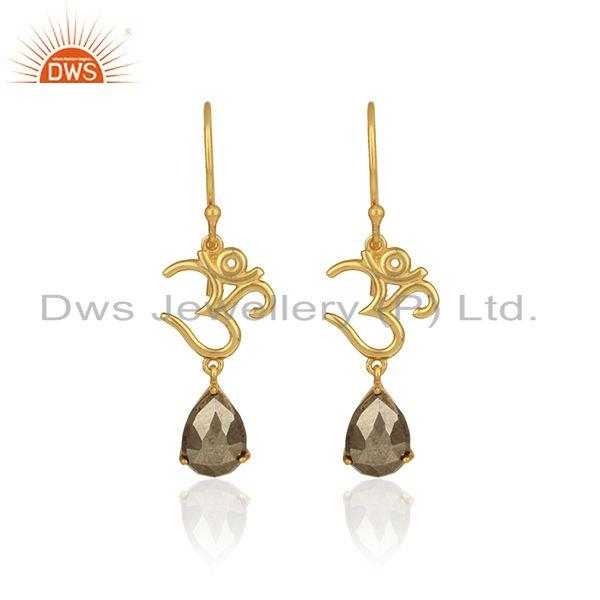 Om symbol earrings in yellow gold on 925 silver with shiny pyrite