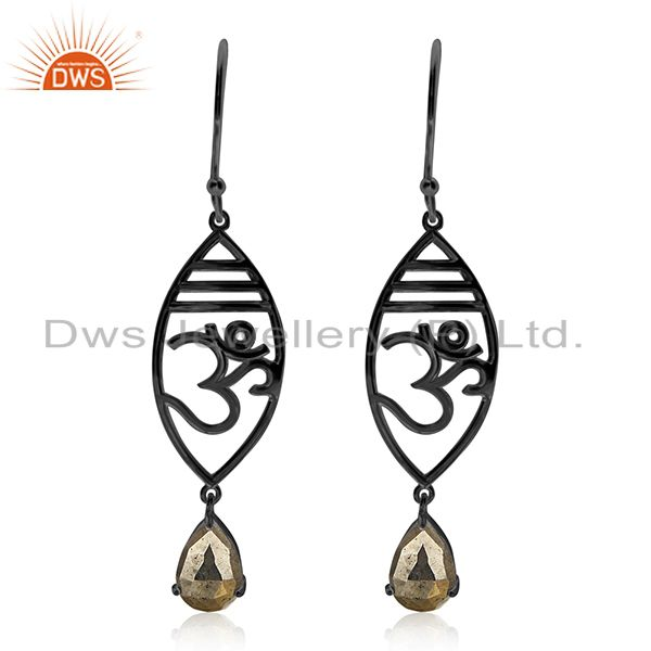 Black Rhodium Plated 925 Silver Pyrite Gemstone Om Aum Charm Earring Suppliers