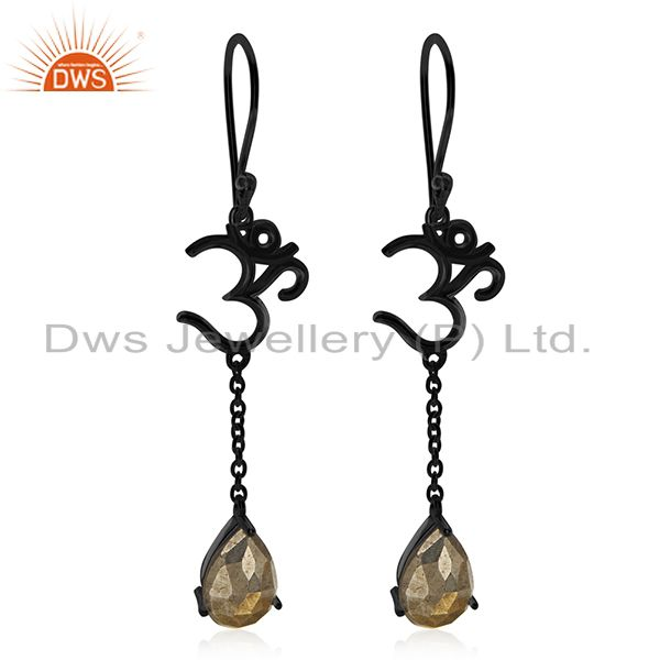 Black Rhodium Plated 925 Silver Pyrite Gemstone Aum Om Earring Wholesale
