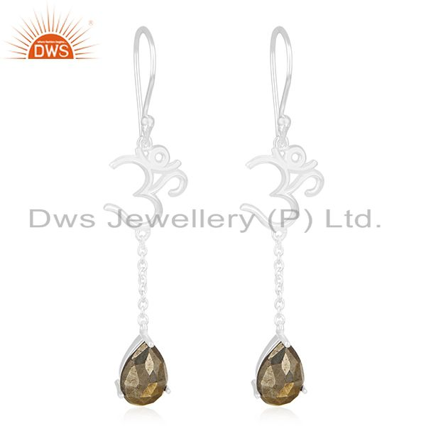 Om Charm 925 Sterling Fine Silver Pyrite Gemstone Designer Earring Wholesale