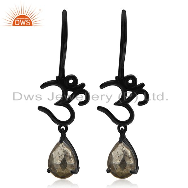 Black Rhodium Plated Pyrite Gemtone Om Charm Earring Manufacturers