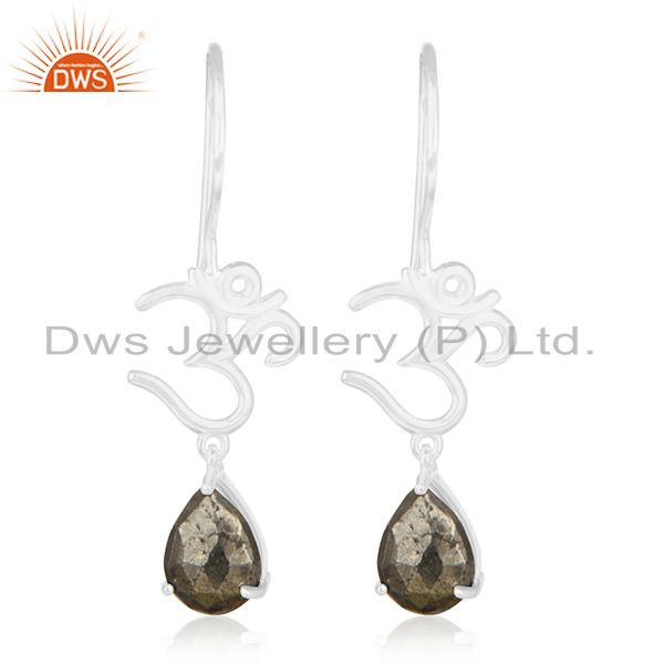 Fine Sterling Silver Om Aum Charm Pyrite Gemstone Earring Manufacturer India