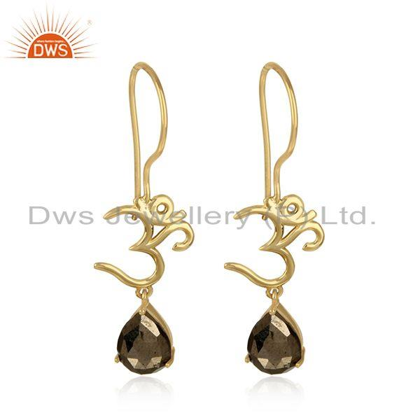 Spiritual Om Earrings in Yellow Gold on 925 Silver with Pyrite