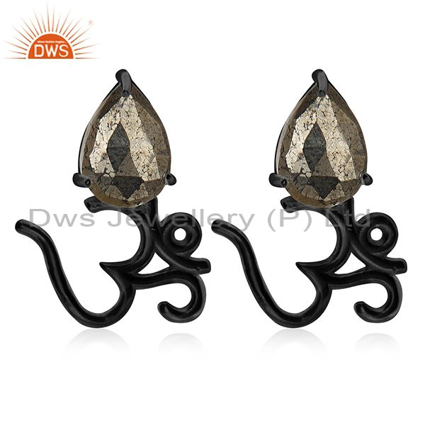Black Rhodium Plated 925 Silver Pyrite Gemstone Om Stud Earring Manufacturer