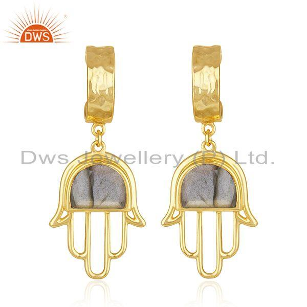 Buddhism Hamsa Hand Gold Plated 925 Silver Labradorite Gemstone Earring Supplier