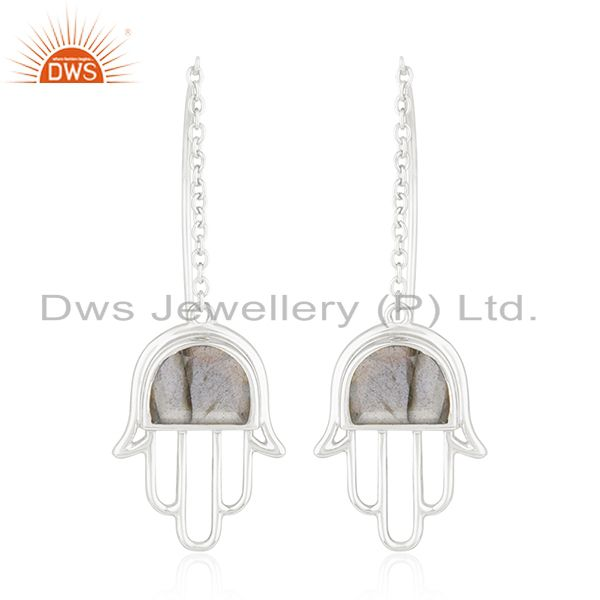 Hamsa Hand Labradorite Gemstone 925 Fine Silver Earring Wholesale Suppliers