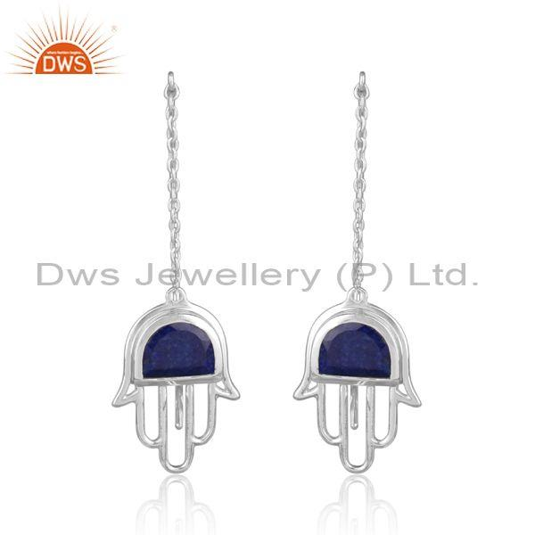 New lapis lazuli fine 925 sterling silver hamsa earrings