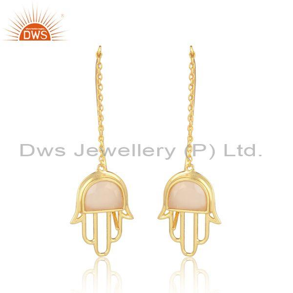 Rose chalcedony coin set gold on 925 silver hamsa earrings