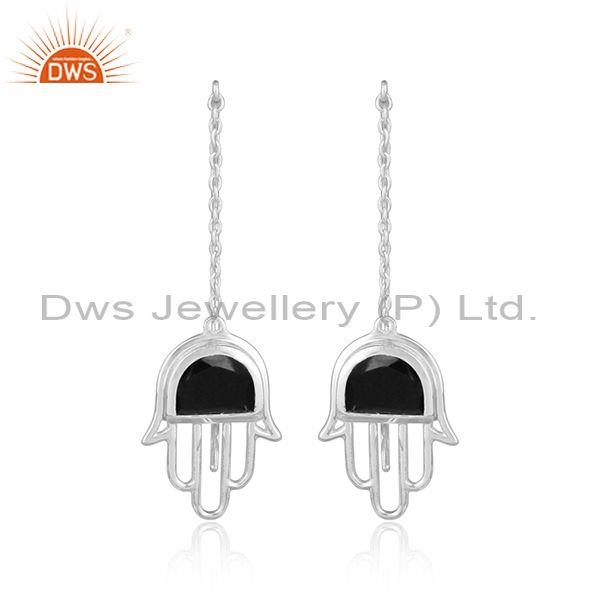 Black Onyx Sterling Silver Hamsa Long Drop Earrings