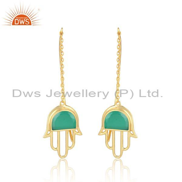Green Onyx Coin Set Gold On 925 Silver Long Hamsa Earrings