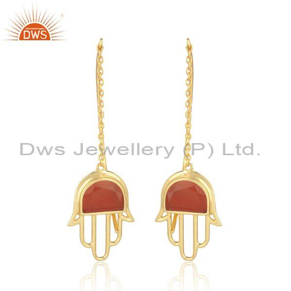 Red Onyx Set Gold On Silver Hamsa Long Drop Fancy Earrings