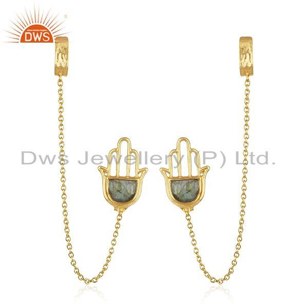 Hamsa Hand Gold Plated 925 Silver Labradorite Gemstone Cuff Earring Supplier