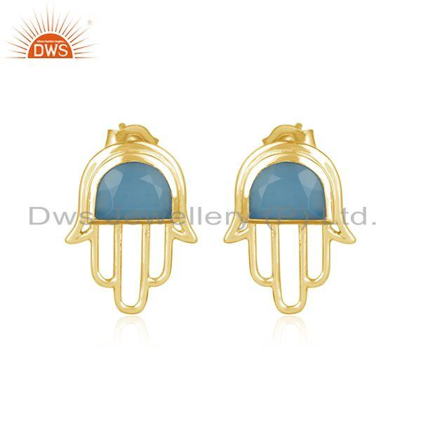 Designer Hamsa Hand Gold on Silver Studs 925 with Blue Chalcedony