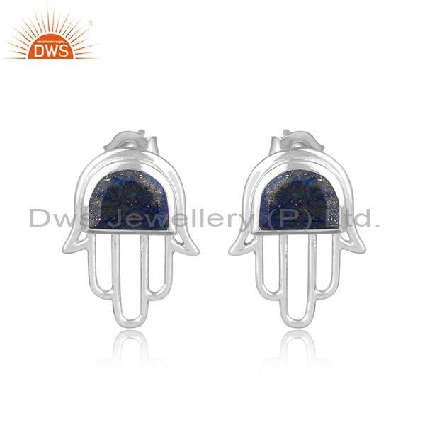 Designer Dainty Hamsa Hand Silver 925 Studs with Lapis