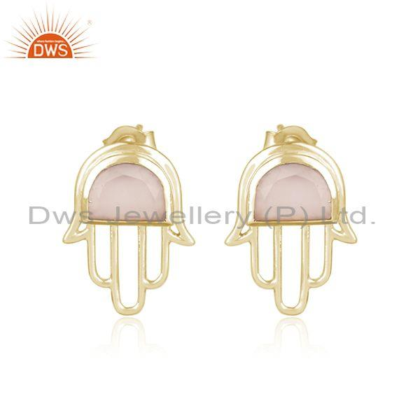 Designer hamsa hand gold on silver studs with rose chalcedony