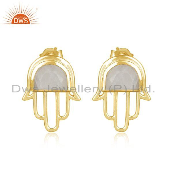 Designer Hamsa Hand Gold on Silver Studs 925 with Rainbow Moonstone