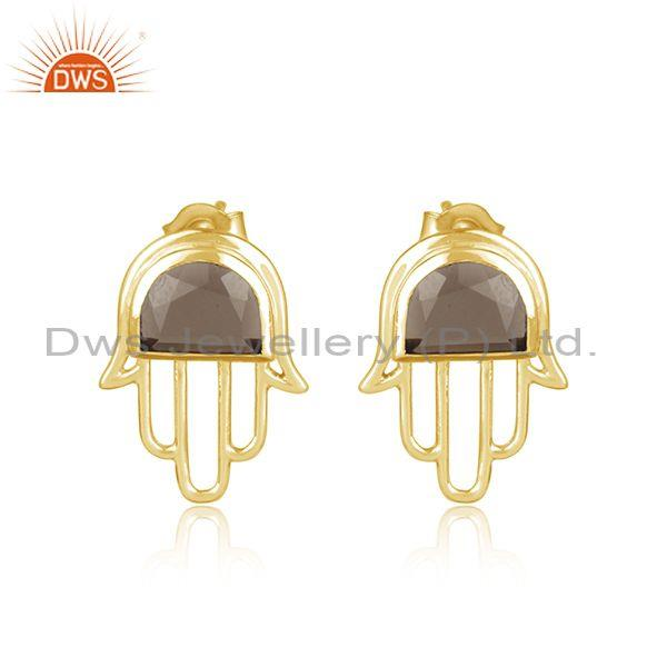 Designer Hamsa Hand Gold on Silver 925 Studs with Smoky