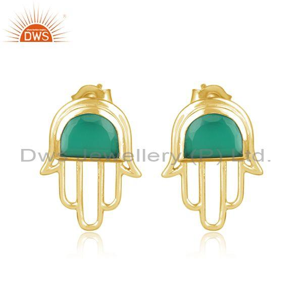 Designer Hamsa Hand Yellow Gold on Silver Studs with Green Onyx