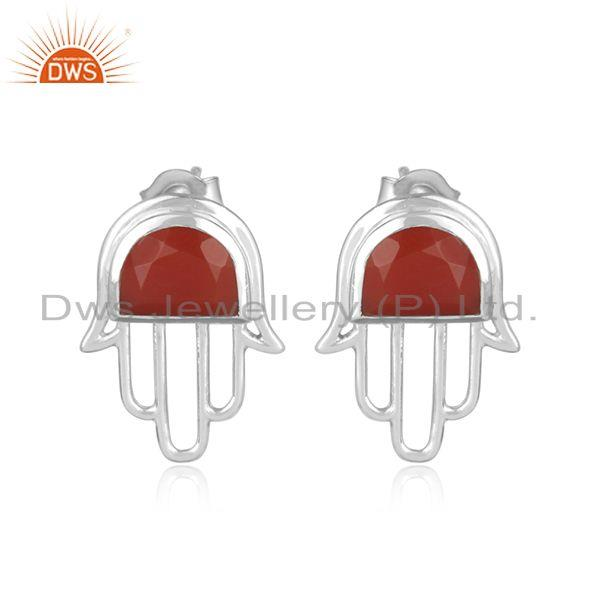Designer dainty hamsa hand sterling silver 925 studs with red onyx