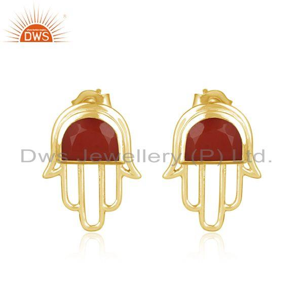 Designer Hamsa Hand Yellow Gold on Silver Studs 925 with Red Onyx