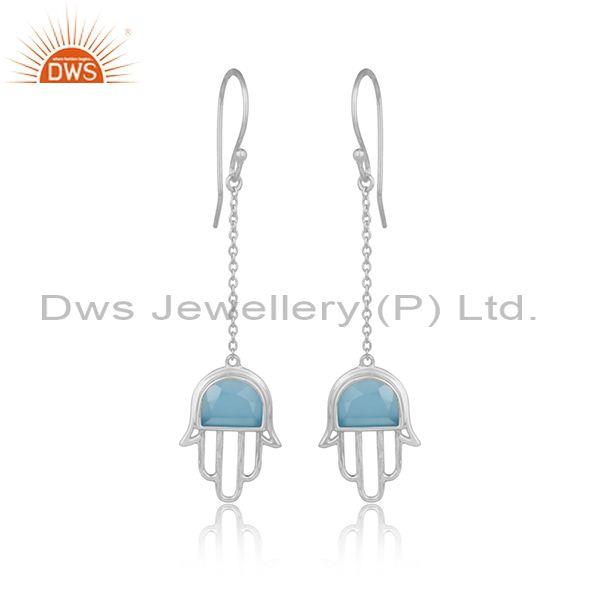 Handmade Hamsa Hand Silver 925 Dangle with Blue Chalcedony