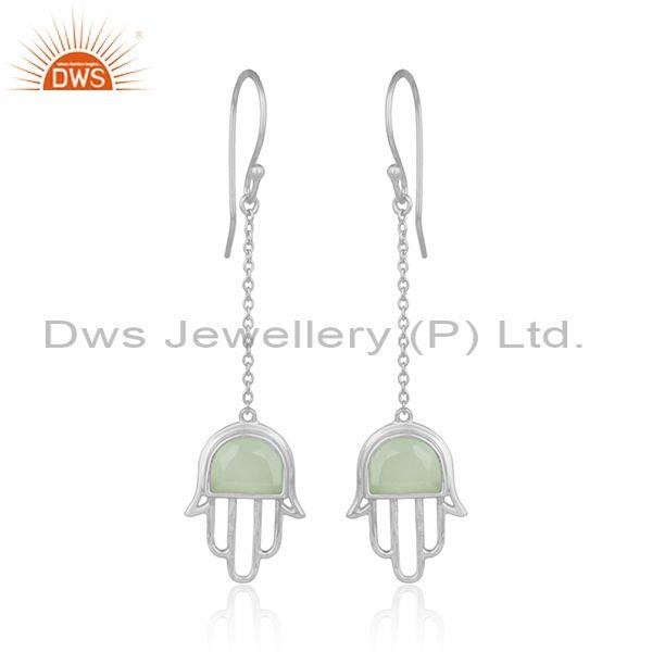 Handmade Hamsa Hand Silver Dangle with Prehnite Chalcedony