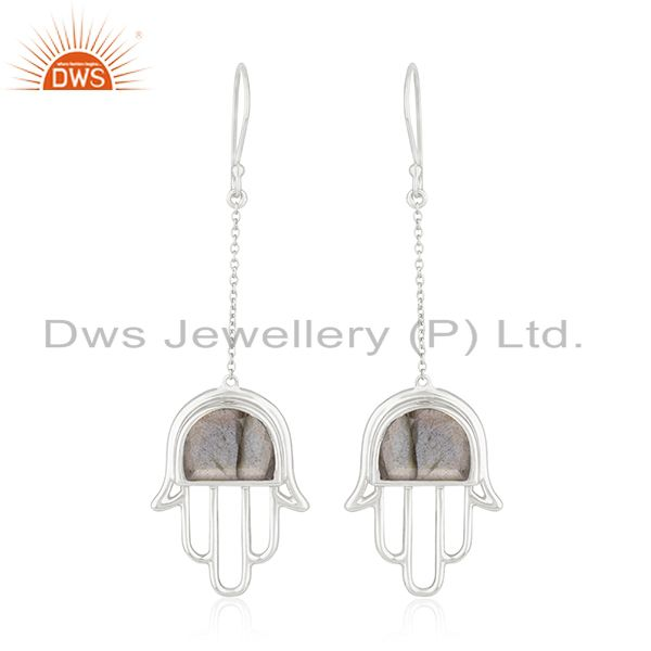Fine Sterling Silver Hamsa Hand Natural Gemstone Earring Manufacturer India