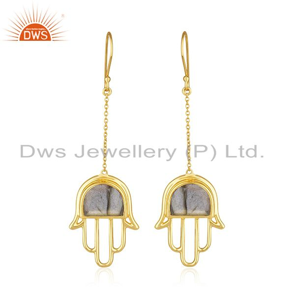 Gold Plated 925 Silver Labradorite Gemstone Hamsa Hand Earring Manufacturer