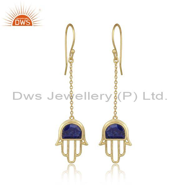 Handmade Hamsa Hand Gold on Silver Dangle with Lapis