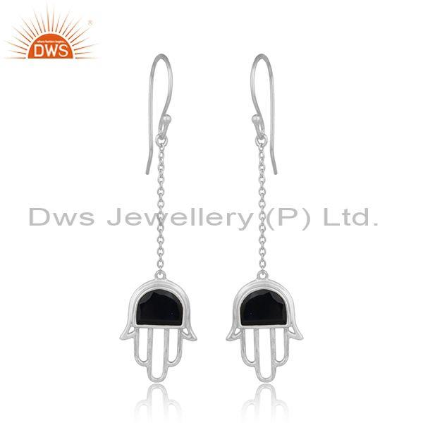 Handmade Hamsa Hand Silver 925 Dangle with Black Onyx