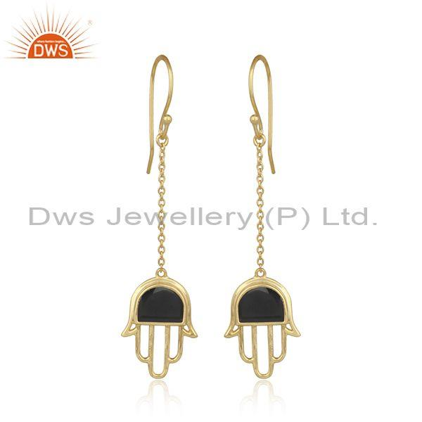 Black onyx set gold on 925 silver long drop hamsa earrings