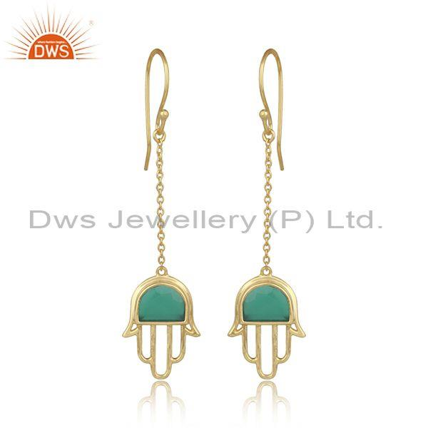 Green Onyx Set Gold On 925 Silver Long Drop Hamsa Earrings